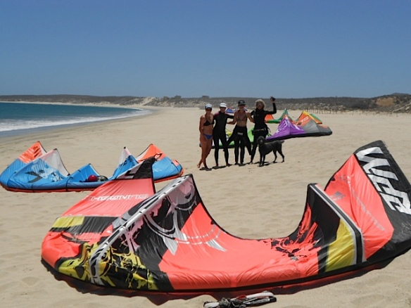 Kiting with friends - Annie far right, me on the left.